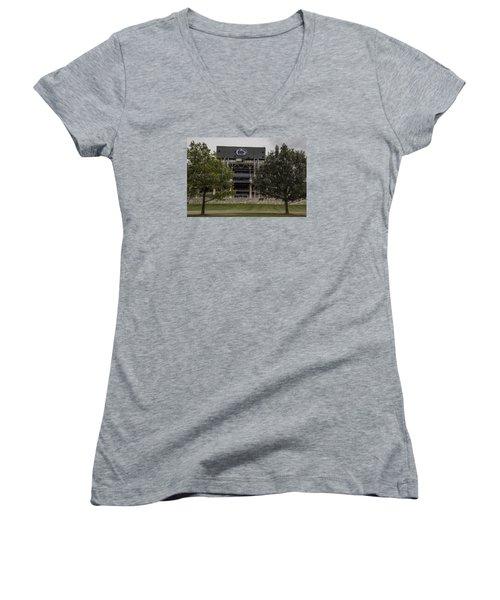 Penn State Beaver Stadium  Women's V-Neck T-Shirt (Junior Cut) by John McGraw