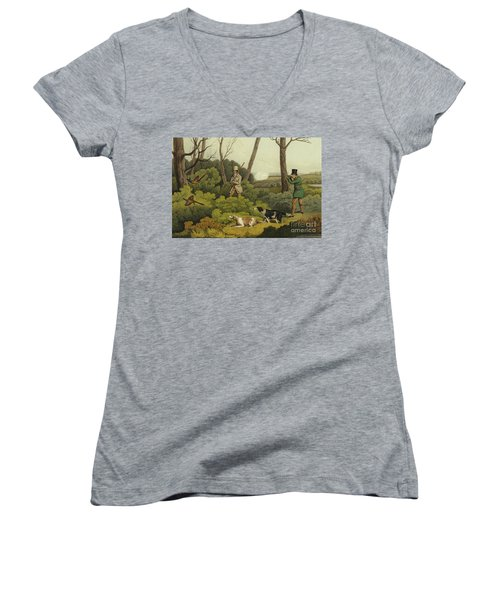 Pheasant Shooting Women's V-Neck T-Shirt (Junior Cut) by Henry Thomas Alken