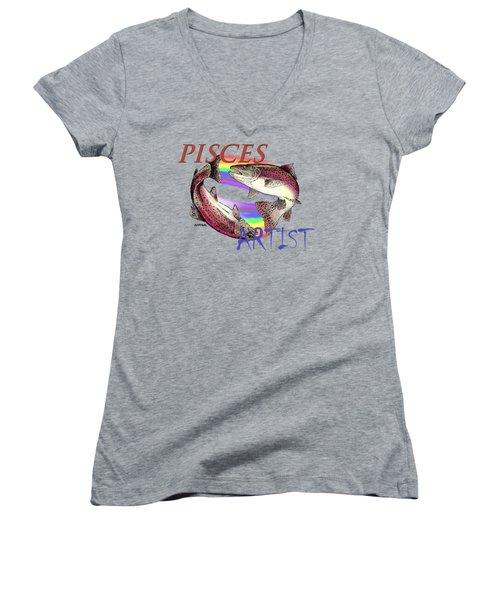 Pisces Artist Women's V-Neck T-Shirt (Junior Cut) by Joseph Juvenal
