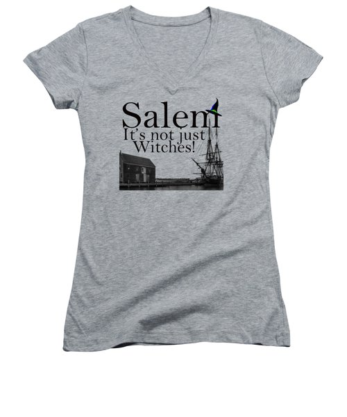 Salem Its Not Just For Witches Women's V-Neck T-Shirt (Junior Cut) by Jeff Folger