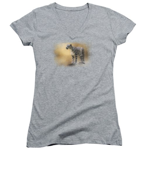 Snow Leopard Women's V-Neck T-Shirt (Junior Cut) by Jai Johnson