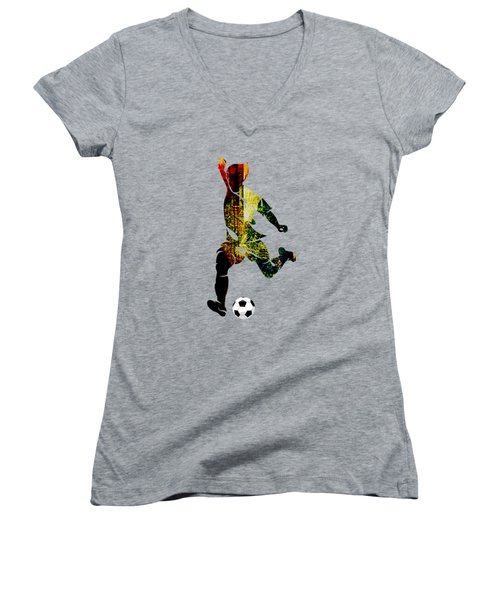 Soccer Collection Women's V-Neck T-Shirt (Junior Cut) by Marvin Blaine
