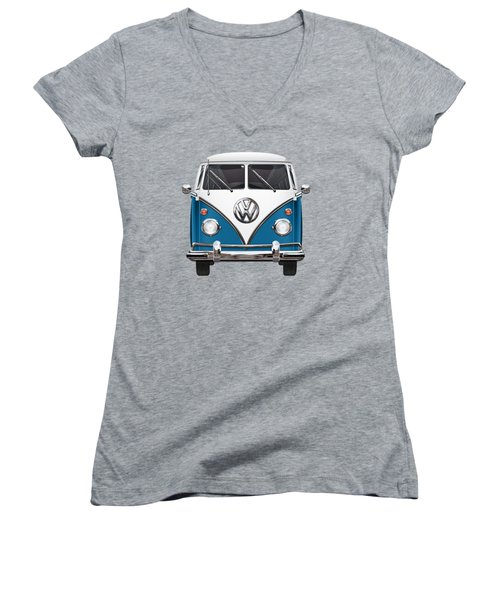 Volkswagen Type 2 - Blue And White Volkswagen T 1 Samba Bus Over Orange Canvas  Women's V-Neck T-Shirt (Junior Cut) by Serge Averbukh