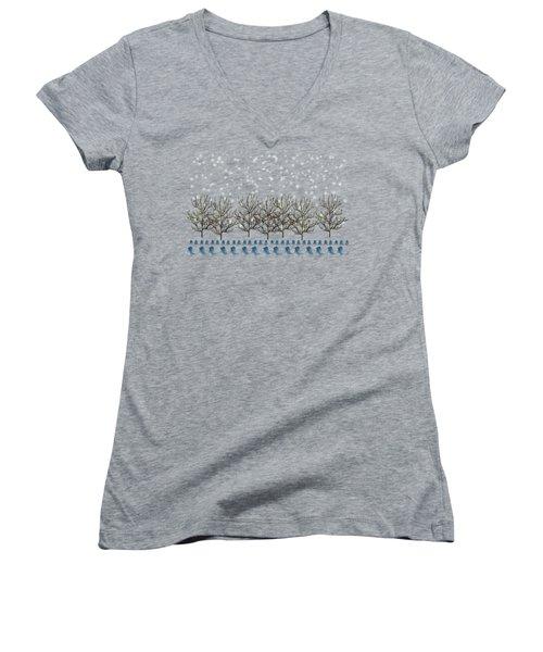 Winter Bluebirds In The Snow Women's V-Neck T-Shirt (Junior Cut) by Anne Kitzman