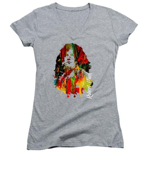 Robert Plant Collection Women's V-Neck T-Shirt (Junior Cut) by Marvin Blaine