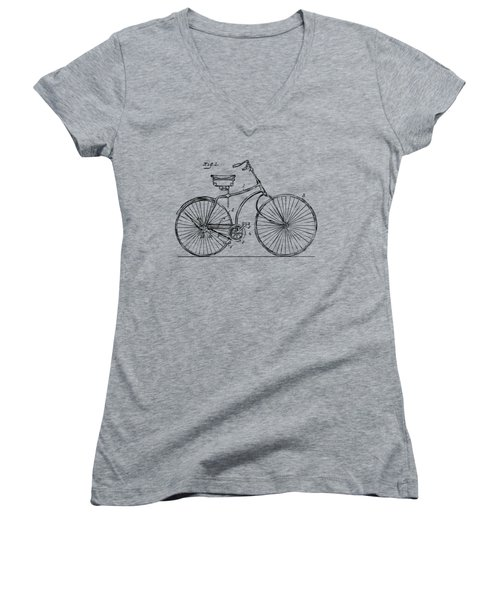 1890 Bicycle Patent Minimal - Vintage Women's V-Neck T-Shirt (Junior Cut) by Nikki Marie Smith