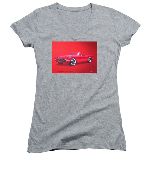 1953 Corvette Classic Vintage Sports Car Automotive Art Women's V-Neck T-Shirt (Junior Cut) by John Samsen