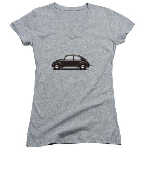 1953 Volkswagen Sedan - Black Women's V-Neck T-Shirt (Junior Cut) by Ed Jackson