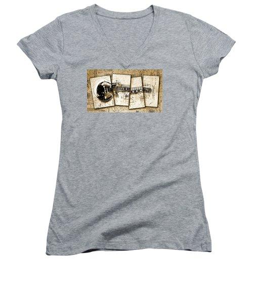 1955 Les Paul Custom Black Beauty V5 Women's V-Neck T-Shirt (Junior Cut) by Gary Bodnar