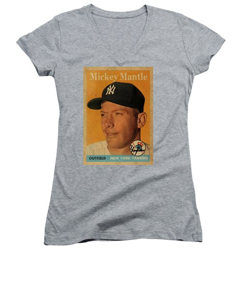 1958 Topps Baseball Mickey Mantle Card Vintage Poster Women's V-Neck T-Shirt (Junior Cut) by Design Turnpike