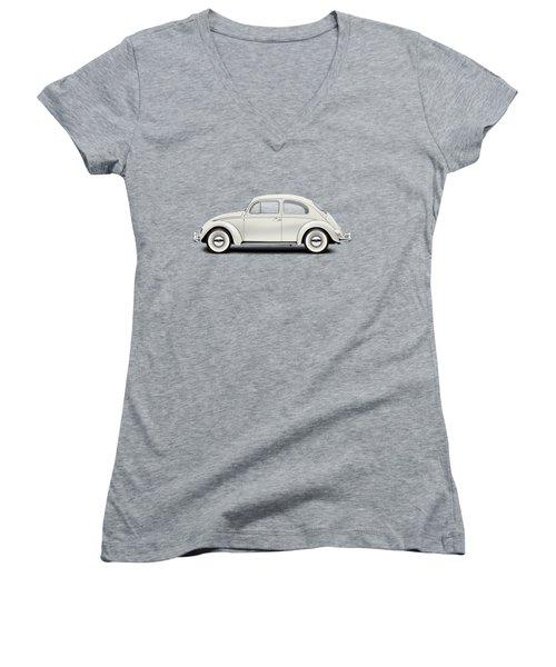 1961 Volkswagen Deluxe Sedan - Pearl White Women's V-Neck T-Shirt (Junior Cut) by Ed Jackson