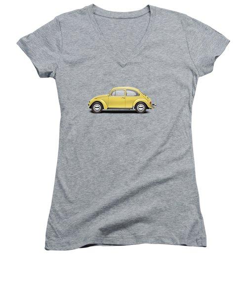 1972 Volkswagen Beetle - Saturn Yellow Women's V-Neck T-Shirt (Junior Cut) by Ed Jackson