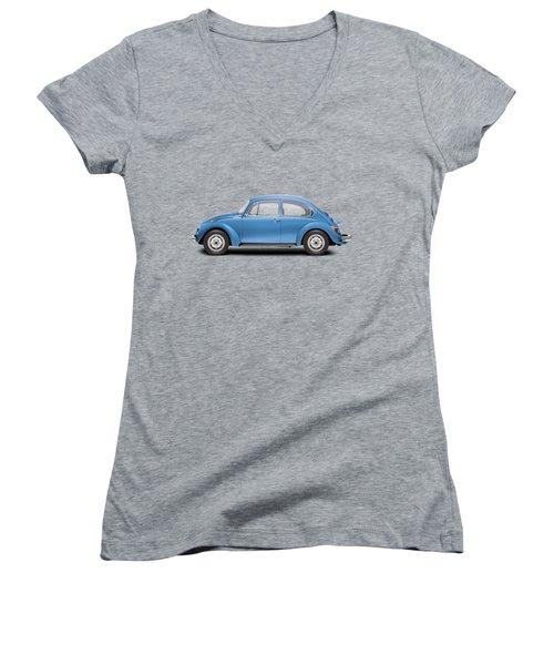 1975 Volkswagen Super Beetle - Ancona Blue Metallic Women's V-Neck T-Shirt (Junior Cut) by Ed Jackson