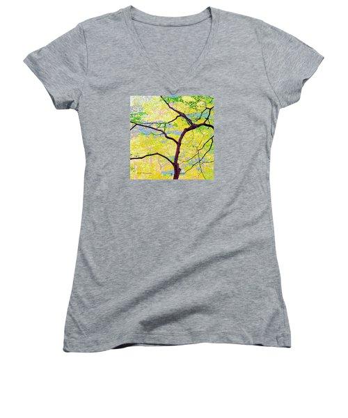 Women's V-Neck T-Shirt (Junior Cut) featuring the digital art Dogwood Tree In Spring by A Gurmankin