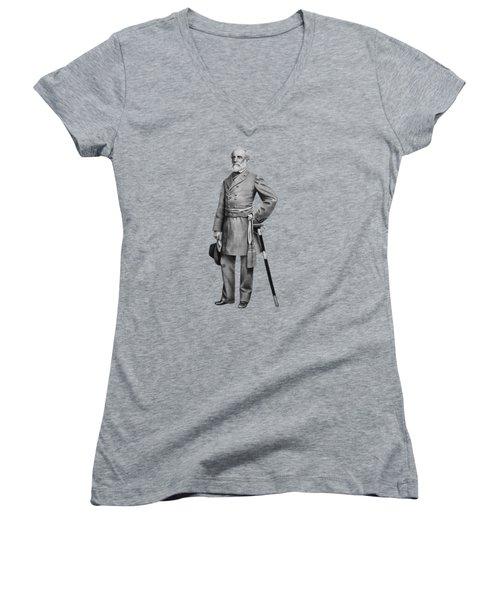 General Robert E. Lee Women's V-Neck T-Shirt (Junior Cut) by War Is Hell Store
