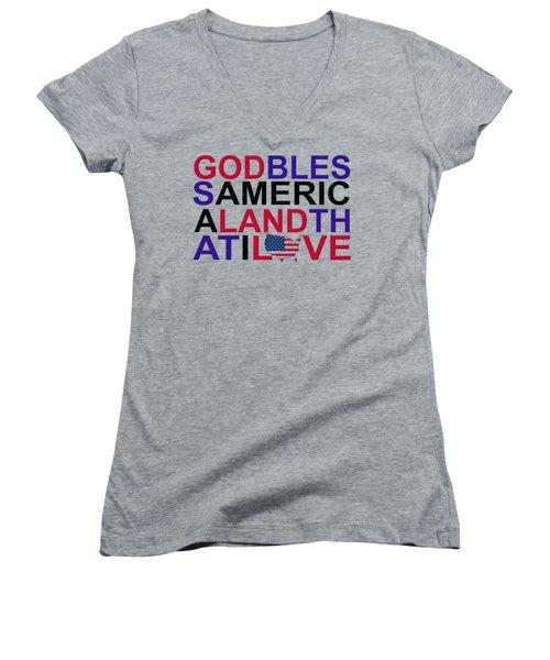 God Bless America Women's V-Neck T-Shirt (Junior Cut) by Mal Bray