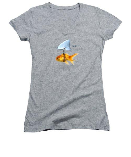 Gold Fish  Women's V-Neck T-Shirt (Junior Cut) by Mark Ashkenazi