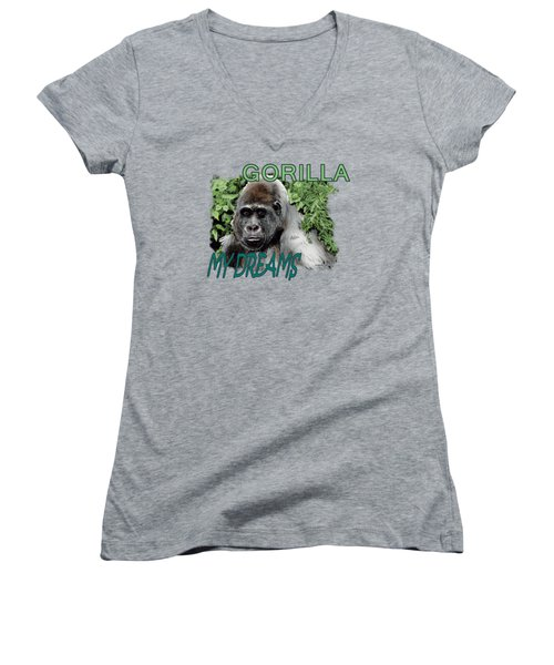 Gorilla My Dreams Women's V-Neck T-Shirt (Junior Cut) by Joseph Juvenal