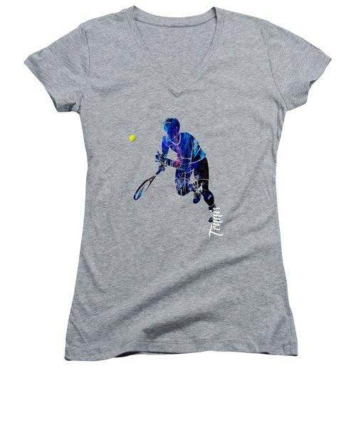 Mens Tennis Collection Women's V-Neck T-Shirt (Junior Cut) by Marvin Blaine