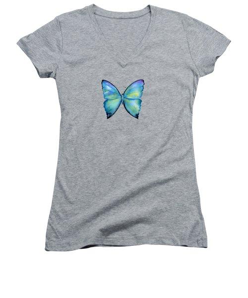 2 Morpho Aega Butterfly Women's V-Neck T-Shirt (Junior Cut) by Amy Kirkpatrick