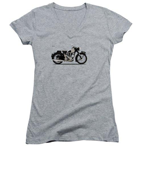 Norton Es2 1947 Women's V-Neck T-Shirt (Junior Cut) by Mark Rogan