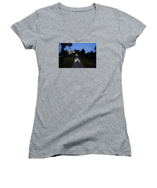 University Of Arkansas Women's V-Neck T-Shirt (Junior Cut) by Chris  Look