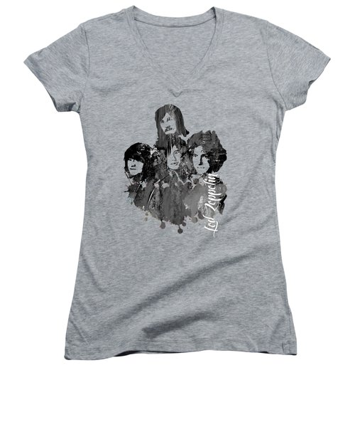 Led Zeppelin Collection Women's V-Neck T-Shirt (Junior Cut) by Marvin Blaine