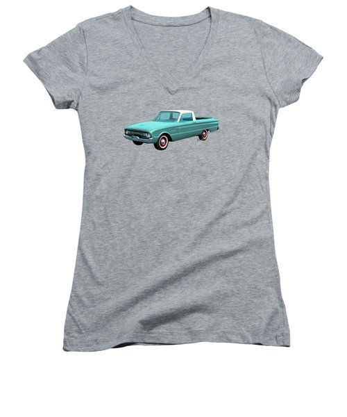 2nd Generation Falcon Ranchero 1960 Women's V-Neck T-Shirt (Junior Cut) by Chas Sinklier