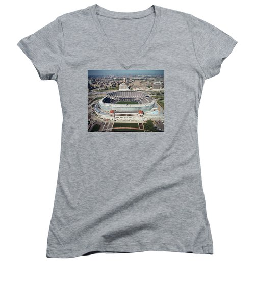 Aerial View Of A Stadium, Soldier Women's V-Neck T-Shirt (Junior Cut) by Panoramic Images