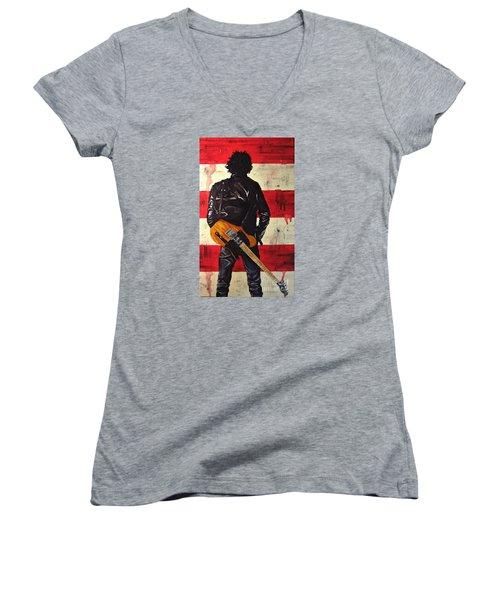 Bruce Springsteen Women's V-Neck T-Shirt (Junior Cut) by Francesca Agostini