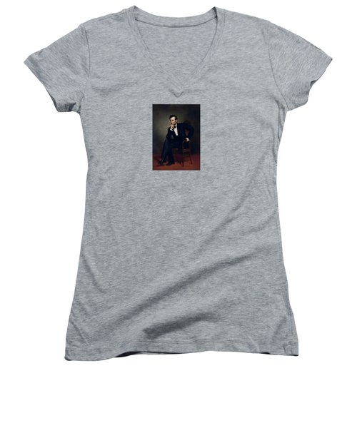President Abraham Lincoln Women's V-Neck T-Shirt (Junior Cut) by War Is Hell Store