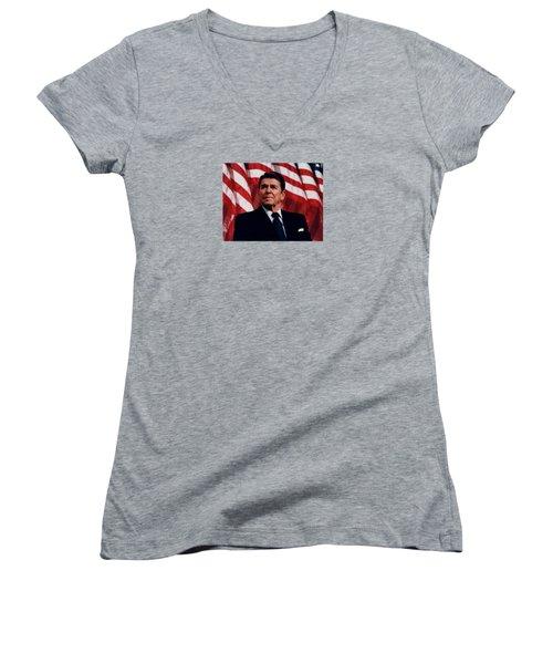 President Ronald Reagan Women's V-Neck T-Shirt (Junior Cut) by War Is Hell Store