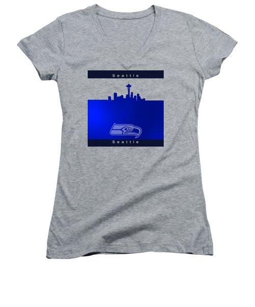 Seattle Seahawks Skyline Women's V-Neck T-Shirt (Junior Cut) by Alberto RuiZ