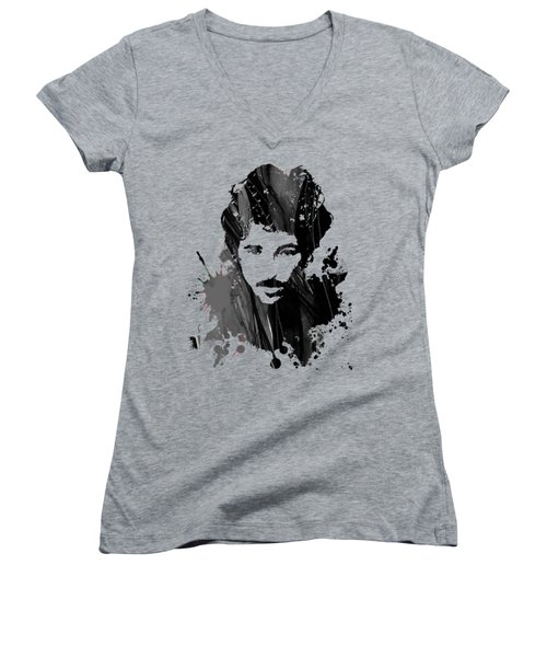 Bruce Springsteen Collection Women's V-Neck T-Shirt (Junior Cut) by Marvin Blaine