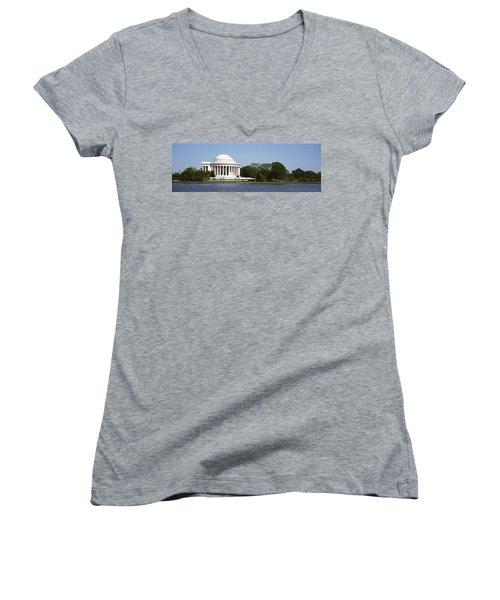 Jefferson Memorial, Washington Dc Women's V-Neck T-Shirt (Junior Cut) by Panoramic Images