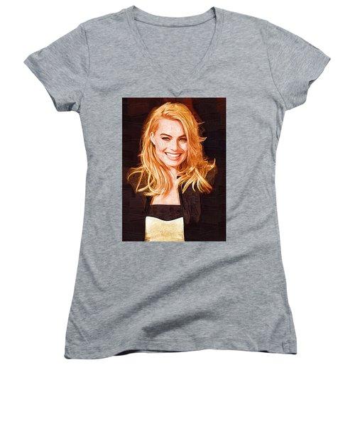 Margot Robbie Painting Women's V-Neck T-Shirt (Junior Cut) by Best Actors