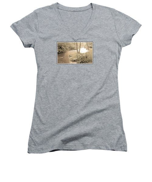 Women's V-Neck T-Shirt (Junior Cut) featuring the photograph Mud Run Pocono Mountain Stream Pennsylvania by A Gurmankin