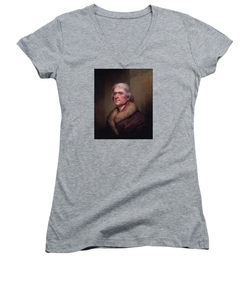 President Thomas Jefferson Women's V-Neck T-Shirt (Junior Cut) by War Is Hell Store