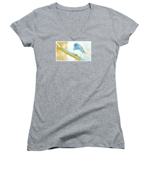 Women's V-Neck T-Shirt (Junior Cut) featuring the digital art Slate Colored Junco Snowbird Male Animal Portrait by A Gurmankin