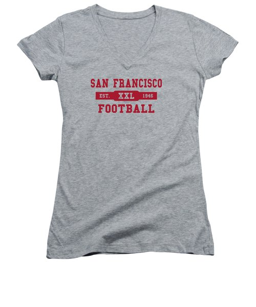 49ers Retro Shirt Women's V-Neck T-Shirt (Junior Cut) by Joe Hamilton