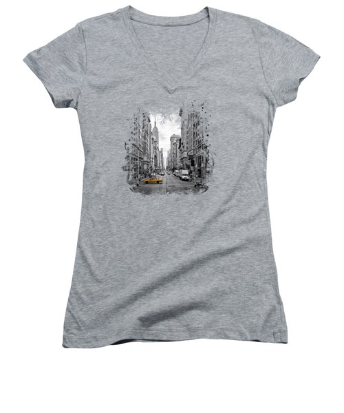 New York City 5th Avenue Women's V-Neck T-Shirt (Junior Cut) by Melanie Viola