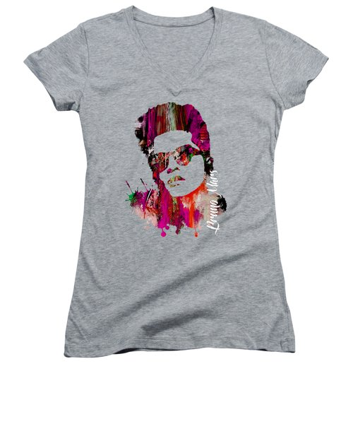Bruno Mars Collection Women's V-Neck T-Shirt (Junior Cut) by Marvin Blaine