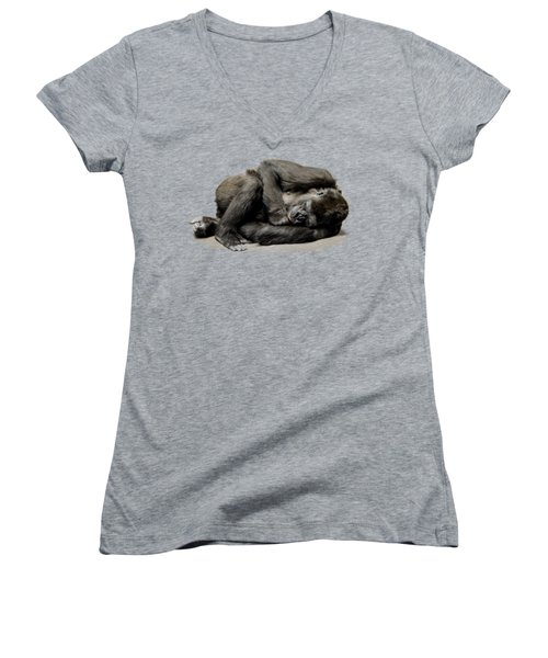 Gorilla Women's V-Neck T-Shirt (Junior Cut) by FL collection