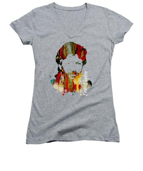 Eric Clapton Collection Women's V-Neck T-Shirt (Junior Cut) by Marvin Blaine