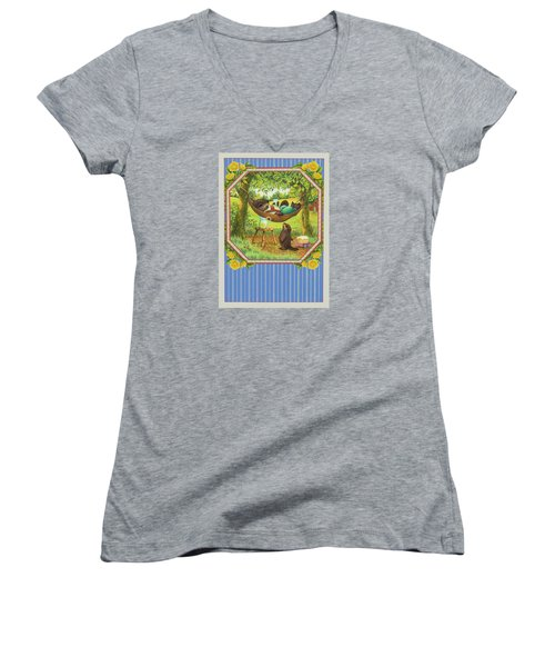 A Father's Day Treat Women's V-Neck T-Shirt (Junior Cut) by Lynn Bywaters