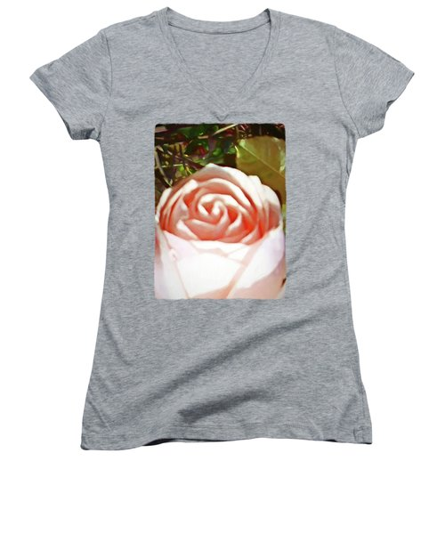 A Pale Pink Rosebud Women's V-Neck T-Shirt (Junior Cut) by Jackie VanO