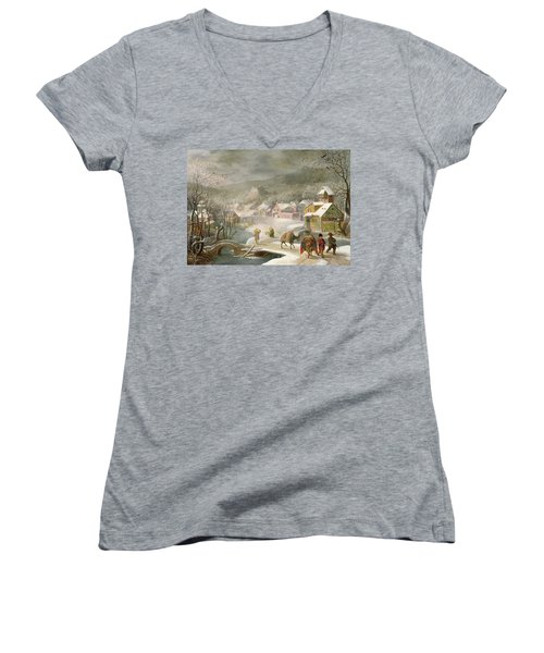 A Winter Landscape With Travellers On A Path Women's V-Neck T-Shirt (Junior Cut) by Denys van Alsloot