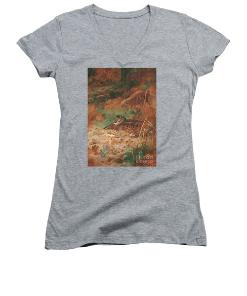 A Woodcock And Chick In Undergrowth Women's V-Neck T-Shirt (Junior Cut) by Archibald Thorburn