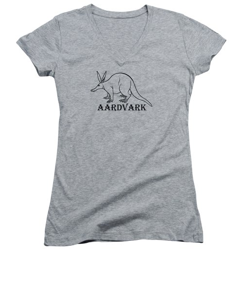 Aardvark Women's V-Neck T-Shirt (Junior Cut) by Sarah Greenwell