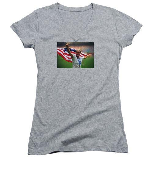 Abby Wambach Us Soccer Women's V-Neck T-Shirt (Junior Cut) by Semih Yurdabak